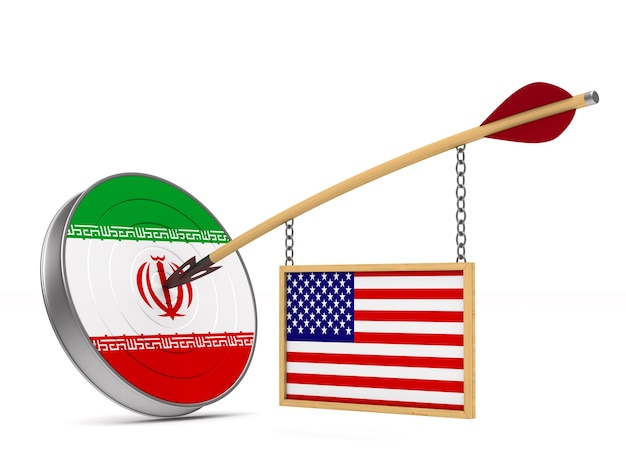 Relationship between america and iran on white space. isolated 3d illustration