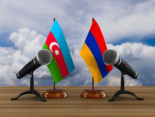 Relationship between armenia and azerbaijan. 3d illustration