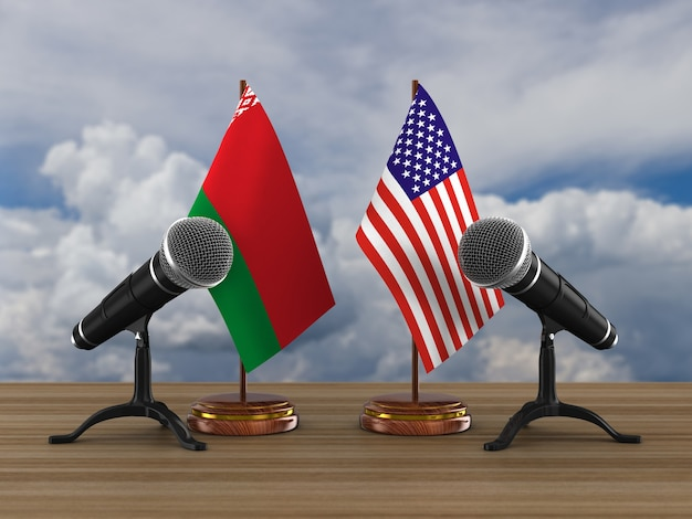 Relationship between belarus and america. 3d illustration