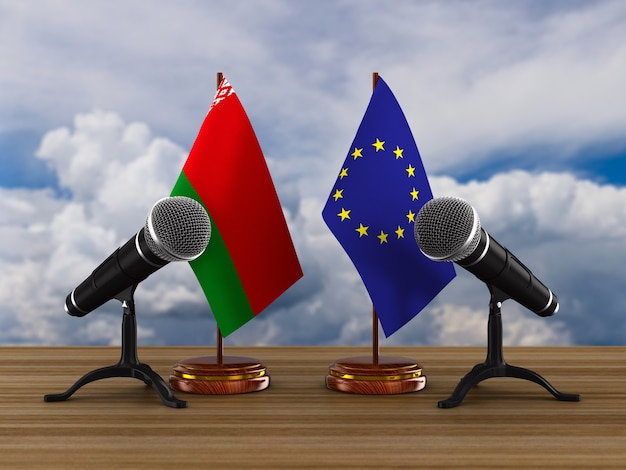 Relationship between belarus and eu. 3d illustration