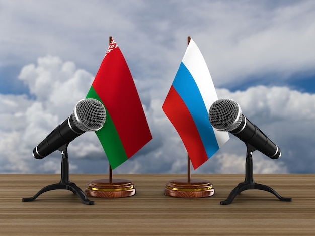 Relationship between belarus and russia. 3d illustration