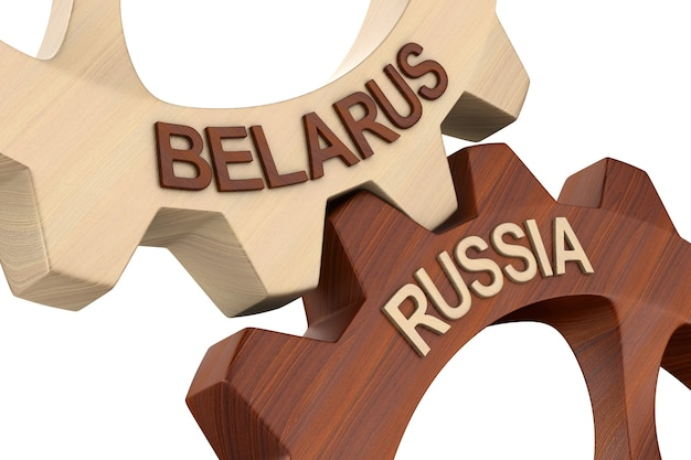 Relationship between belarus and russiaon white background. isolated 3d illustration