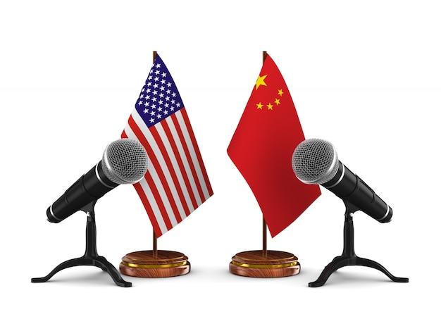 Отношения между америкой и китаем. изолированный 3d-рендеринг