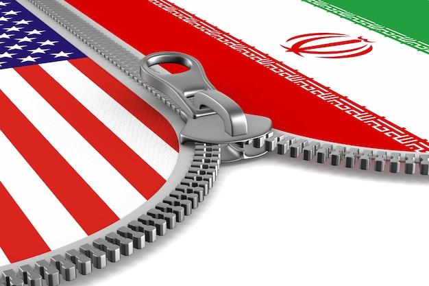 Отношения между америкой и ираном на белом фоне. изолированные 3d иллюстрации