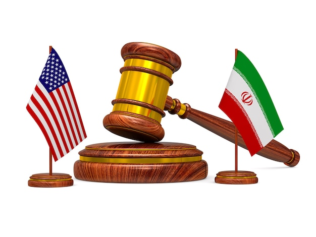 Отношения между америкой и ираном на белом пространстве. изолированные 3d иллюстрации