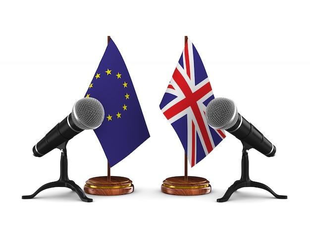 Отношения между соединенным королевством и ес на белом фоне. изолированные 3d иллюстрации