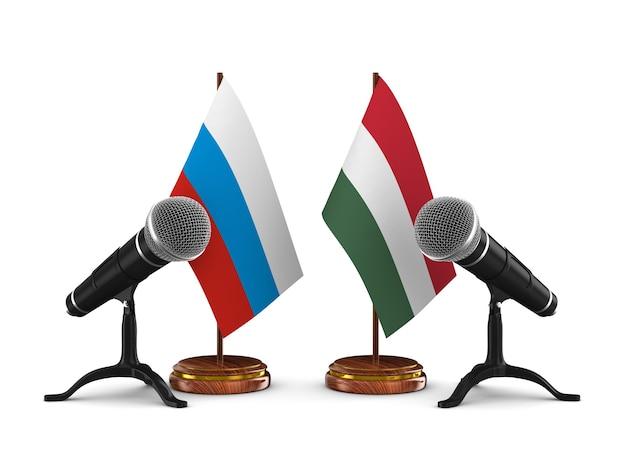 Отношения между венгрией и россией на белом фоне. изолированная 3-я иллюстрация