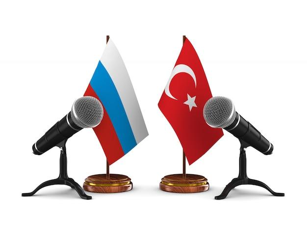 Отношения между турцией и россией. 3d рендеринг