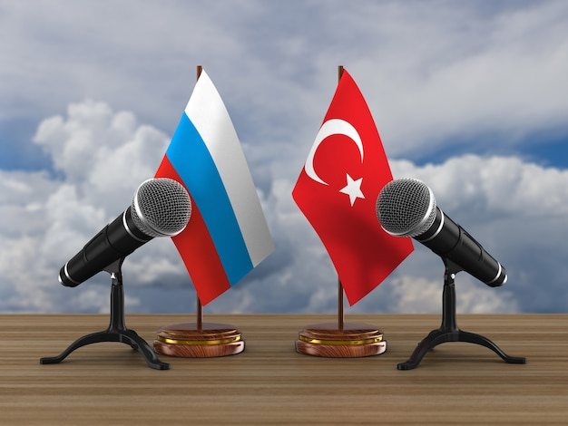 Relationship between turkey and russia. 3d rendering