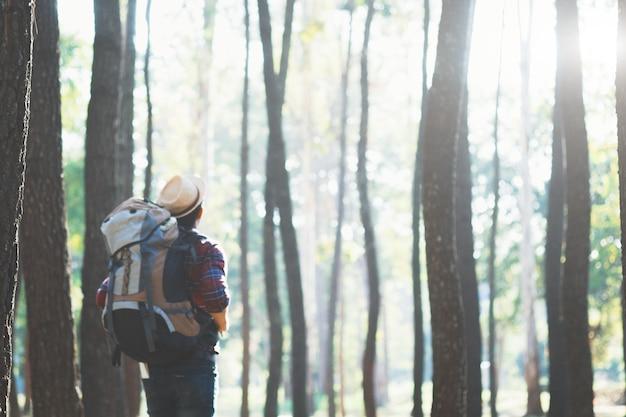 모험 라이프 스타일 하이킹 여행 컨셉 배경을 휴식.