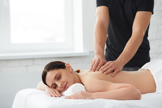 Relaxation, beauty, body and face treatment concept. home massage.