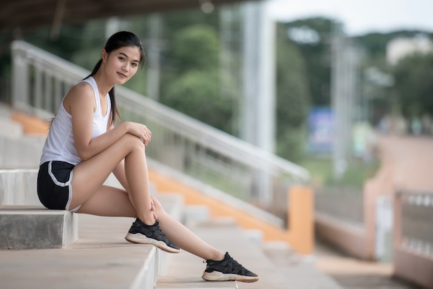 Relaxing asian sport girl
