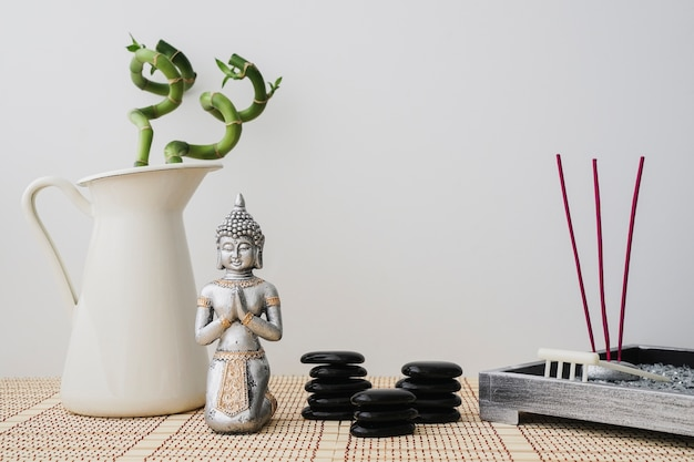 Relaxing composition with buddha figure