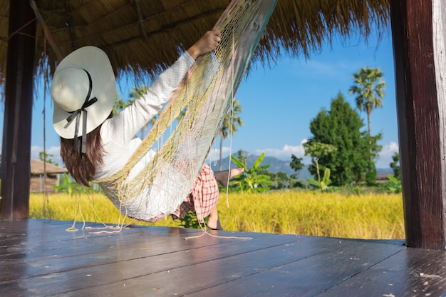 Relaxing hanging on  hammock.