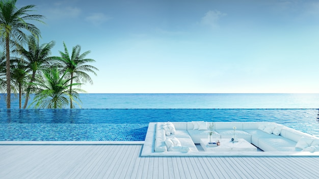 Relaxing summer beach, sunbathing deck and private swimming pool Premium Photo