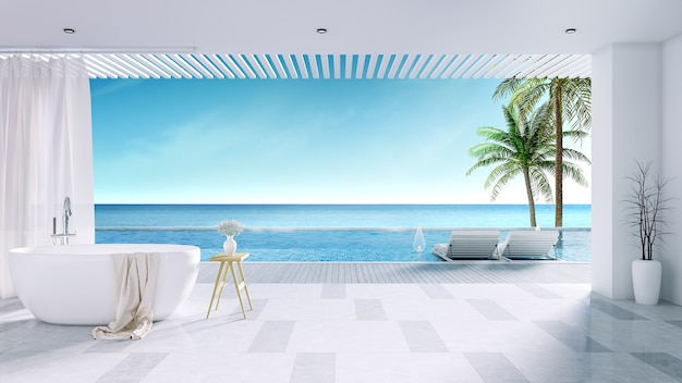 Relaxing summer, white bathtub with  private swimming pool  at luxury house
