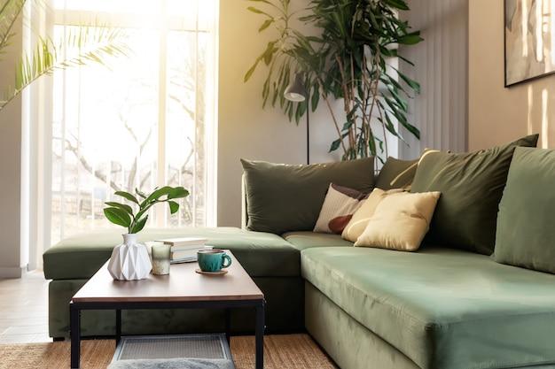 양초, 커피 컵, 책, 나무 테이블에 zamioculcas와 함께 편안한 집에서 편안한 시간을 보내십시오. 노란색 베개와 녹색 소파. 태양의 광선.