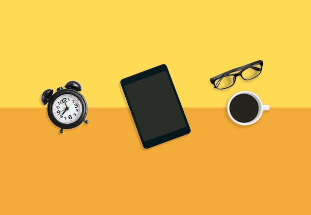 Relaxing time concept, modern workplace coffee time with a cup of coffee.