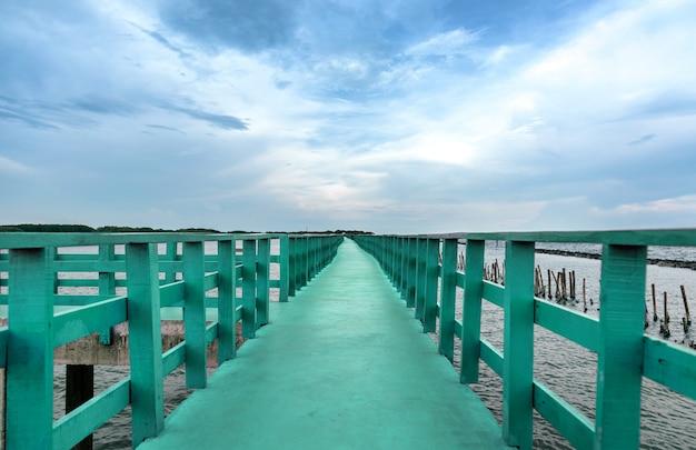 Relaxing travel on green bridge on oceanside in summer