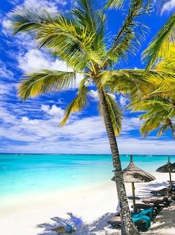편안한 열대 휴가-모리셔스 섬의 아름다운 해변