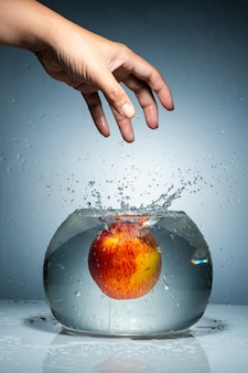 Release an apple from hand into fish bowl with water splash.