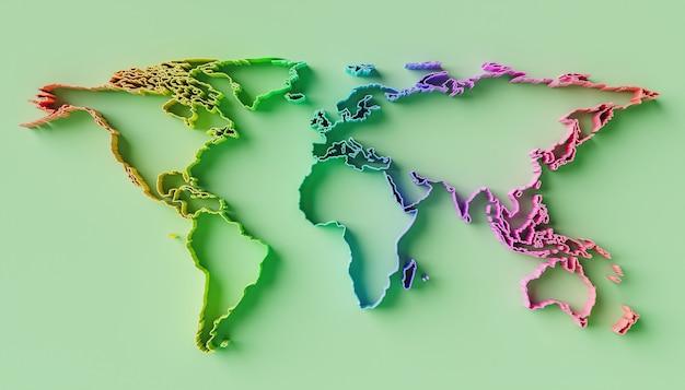 虹のグラデーションの色と緑の背景を持つレリーフの世界地図