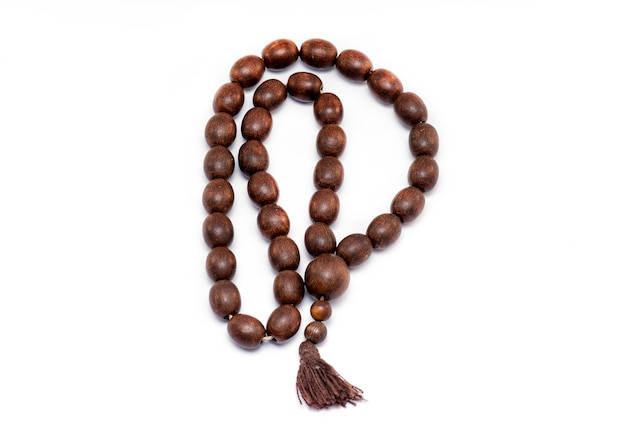Religion wooden beads isolated