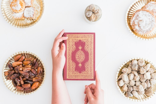 Religious book surrounded between sweets