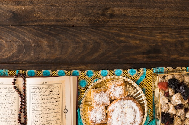 Religious book with beads near arabic sweets