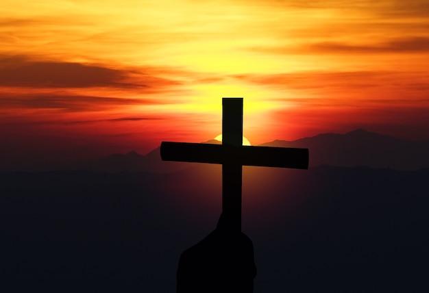 성경 예수 그리스도 개념으로 밝은 일출 하늘 십자가에 대한 종교 십자가 실루엣
