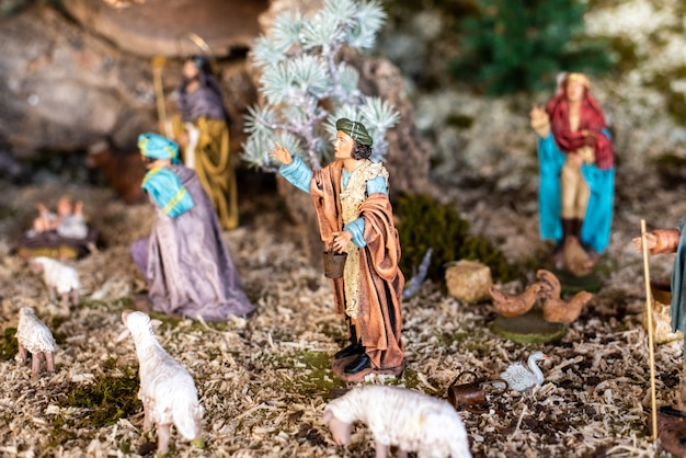 Religious figures of nativity scene at christmas.