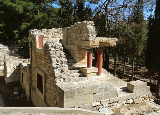 The remains of ancient archaeological site of knossos, heraklion, crete island of greece