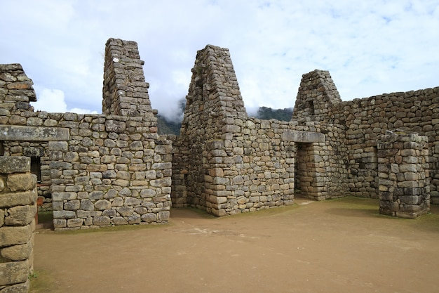 Remains of the ancient structure of machu picchu,  urubamba province, peru