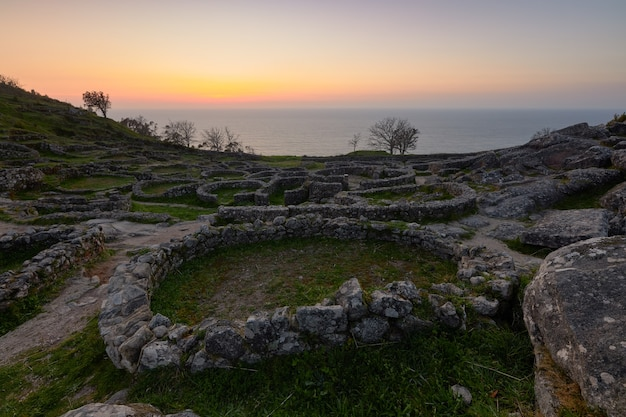 Remains of an old galician fortress on the mount of santa tegra, in the community of galicia, spain.