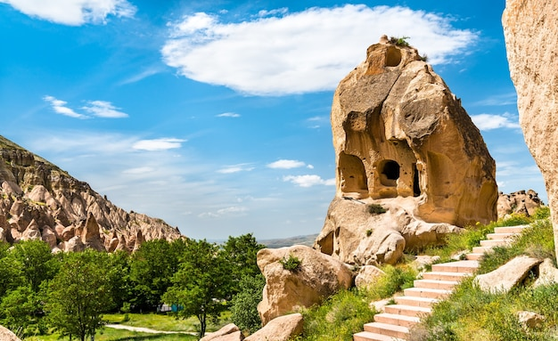 Remains of the zelve monastery complex in goreme national park  cappadocia, turkey