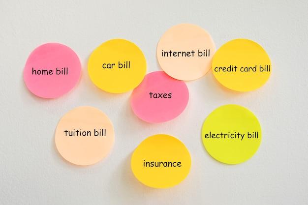 빚을 갚기 위해 벽 계획에 개인 경비 대출 목록 메모를 상기시킵니다.