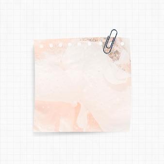 주황색 연기 배경과 종이 클립이 있는 알림