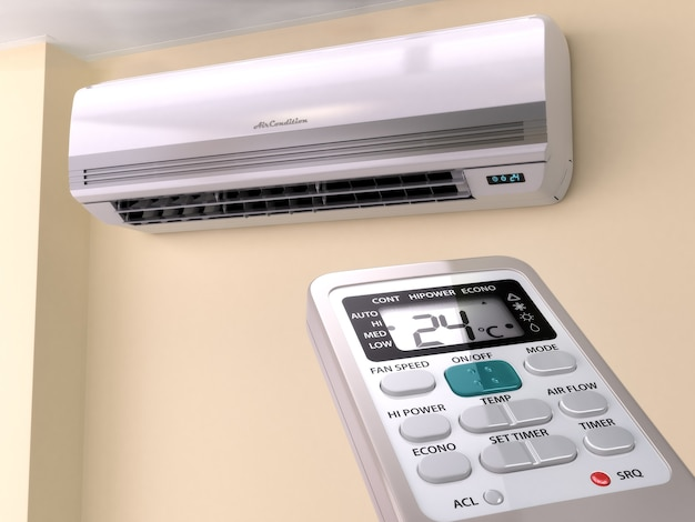 Remote control directed on air conditioner systrem 3d