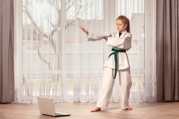 Remote taekwondo training in front of a computer
