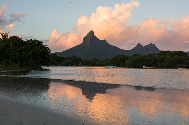 Rempart and mamelles peaks, from tamarin bay where the indian ocean meets the river, tamarin, black river district, mauritius