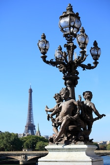 Renaissance street lamp with eiffel tower