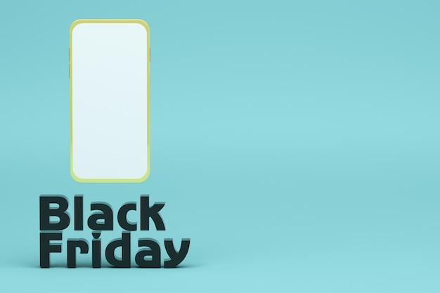 製品のオンライン販売のためにブラックフライデーという言葉でスマートフォンの3dをレンダリングします