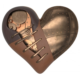 Render of 3d steampunk styled heart