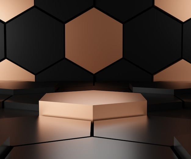 Render black and gold triangular abstract, grunge surface