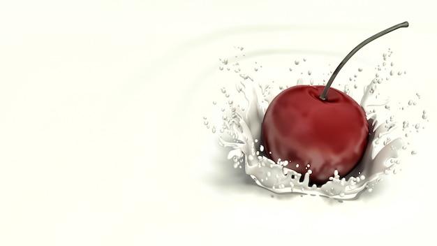 Render cherry falling in milk
