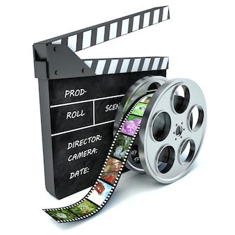 Render cinema clap and film reel