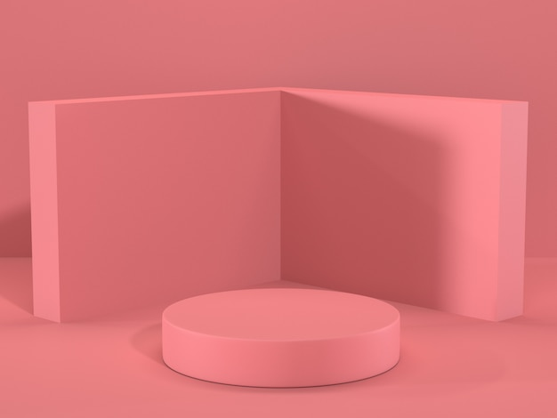 Render image of abstract pink color geometric podium display or showcase