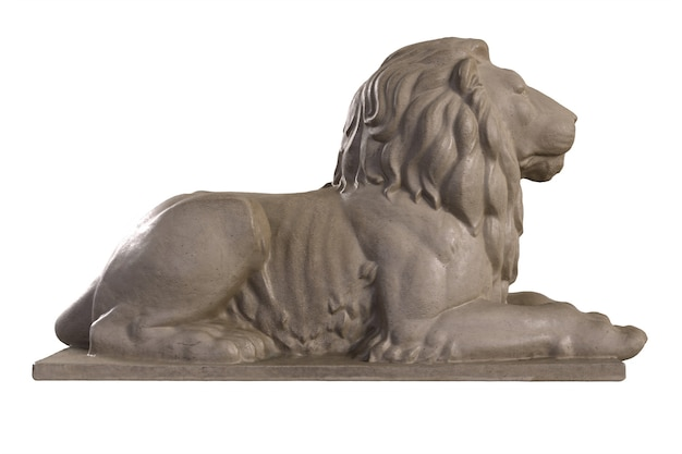 Render of lying lion stone sculpture isolated