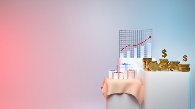 Рендеринг коробки gif денег и золотых монет и биржевой диаграммы