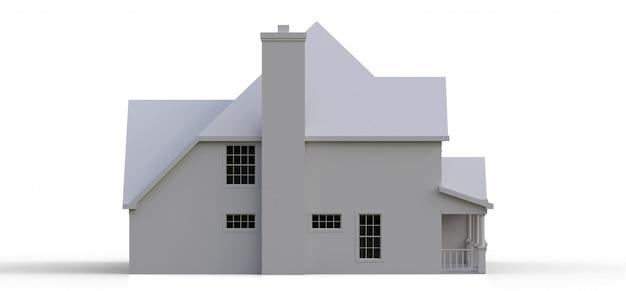 Визуализация классического американского загородного дома. 3d иллюстрации